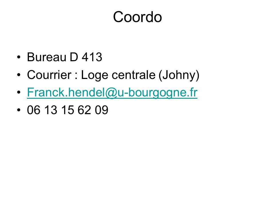 Coordo Bureau D 413 Courrier : Loge centrale (Johny)