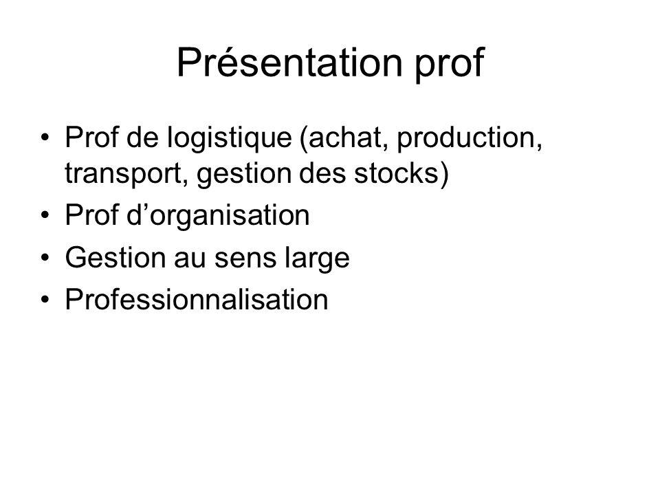 Présentation prof Prof de logistique (achat, production, transport, gestion des stocks) Prof d'organisation.