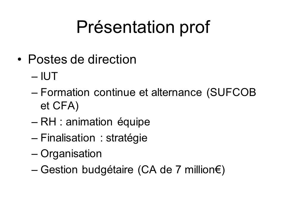 Présentation prof Postes de direction IUT