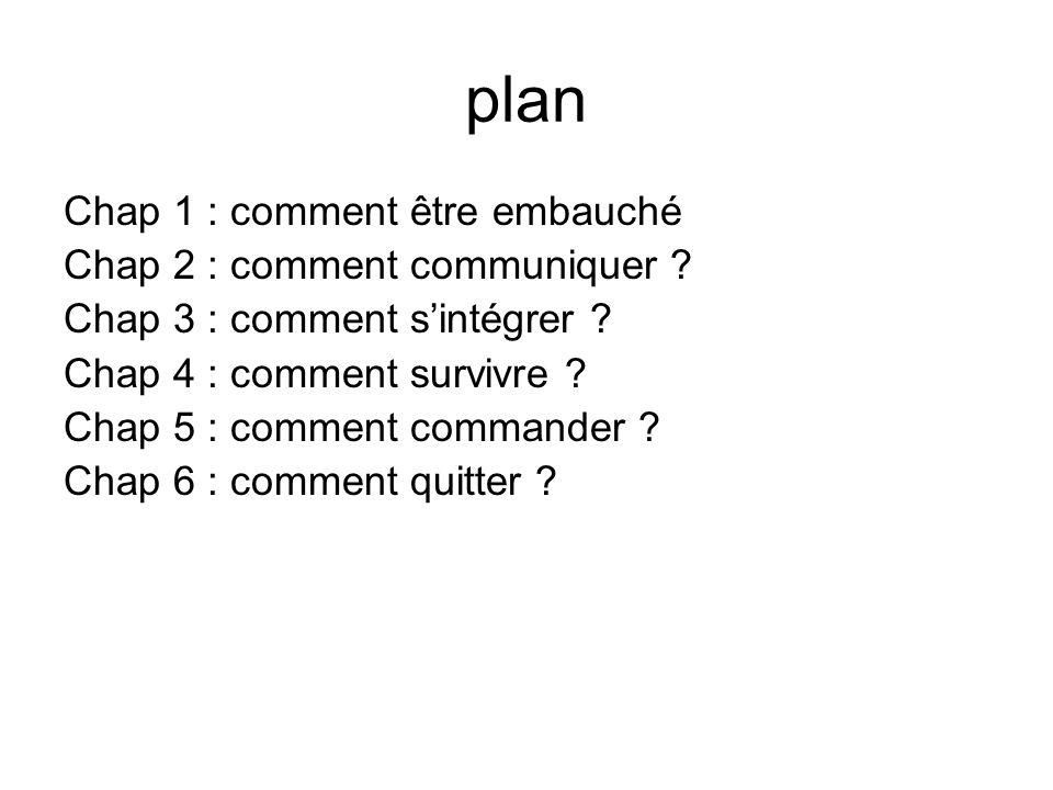 plan Chap 1 : comment être embauché Chap 2 : comment communiquer