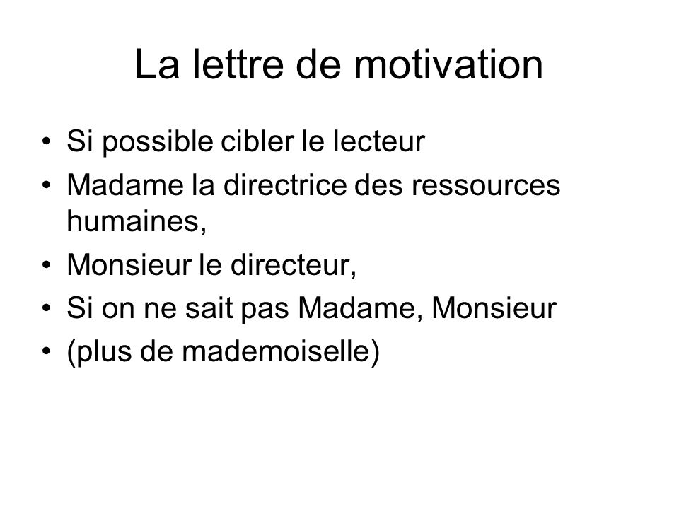 La lettre de motivation