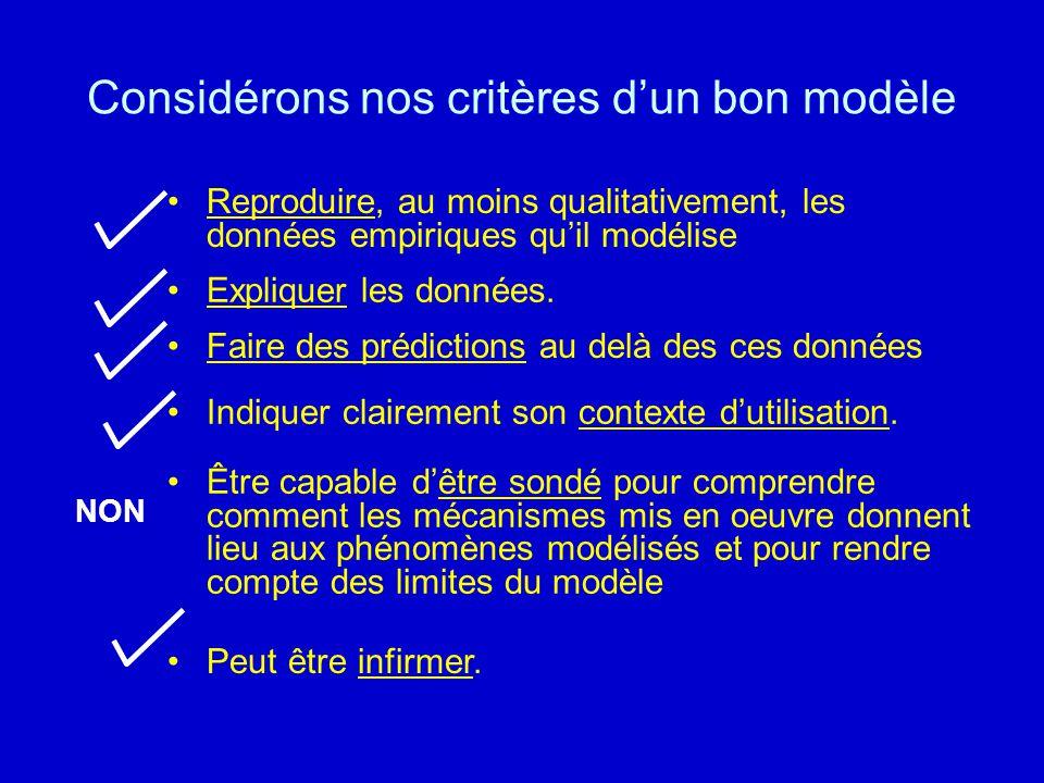 Considérons nos critères d'un bon modèle