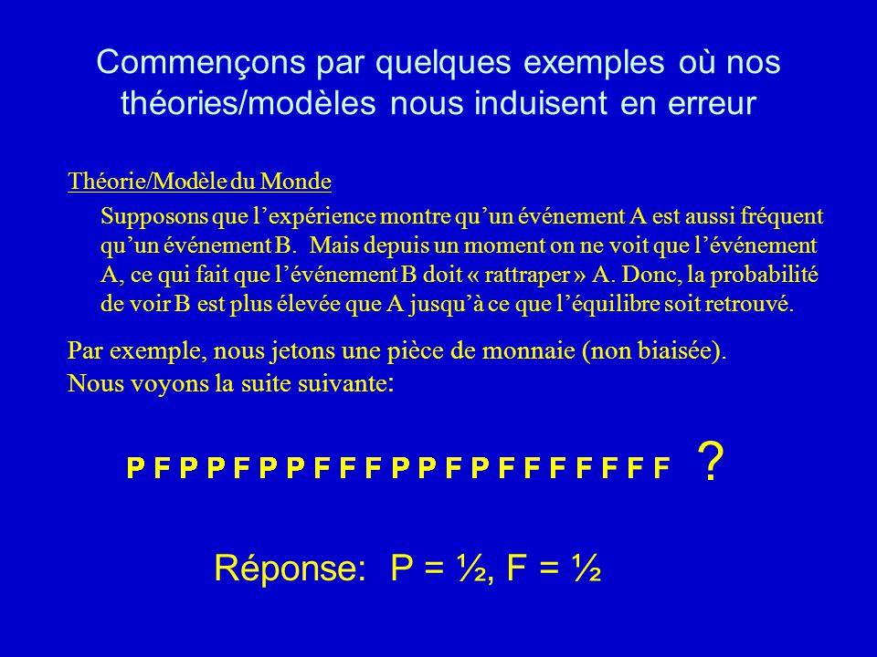 Commençons par quelques exemples où nos théories/modèles nous induisent en erreur