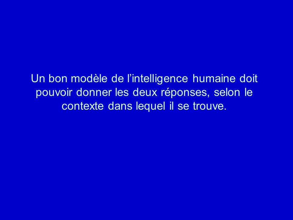 Un bon modèle de l'intelligence humaine doit pouvoir donner les deux réponses, selon le contexte dans lequel il se trouve.