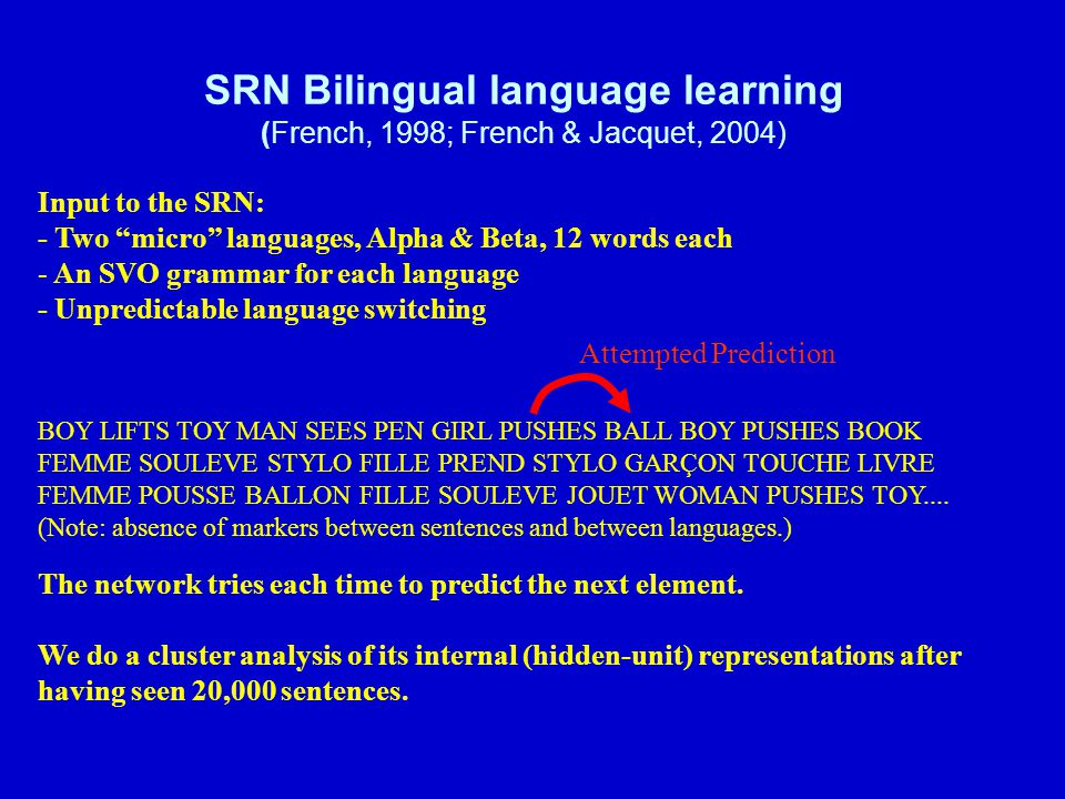 SRN Bilingual language learning (French, 1998; French & Jacquet, 2004)