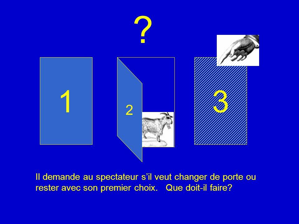 1. 3. 2. Il demande au spectateur s'il veut changer de porte ou rester avec son premier choix.