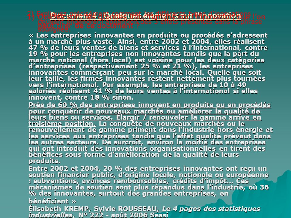 Document 4 : Quelques éléments sur l'innovation