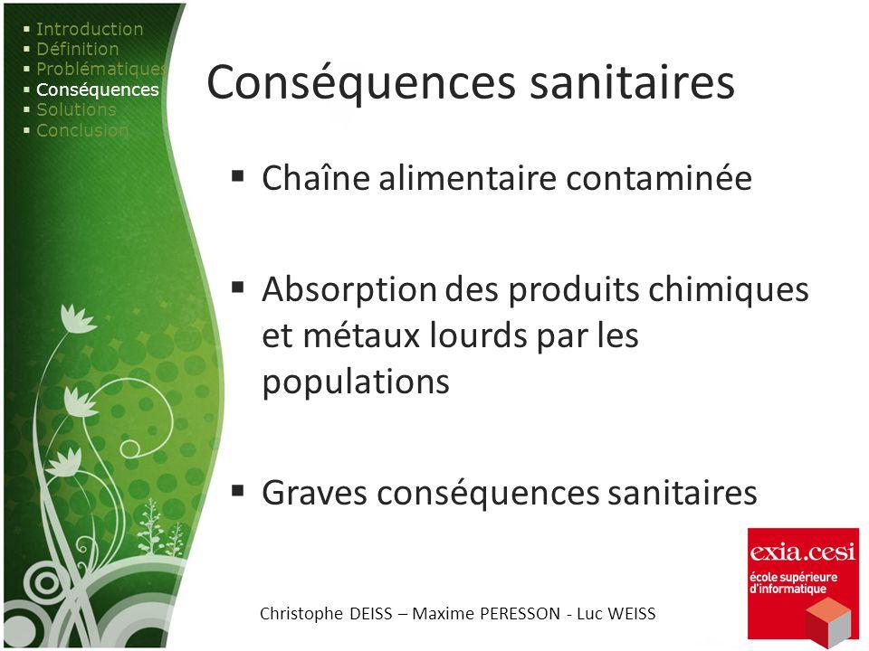 Conséquences sanitaires