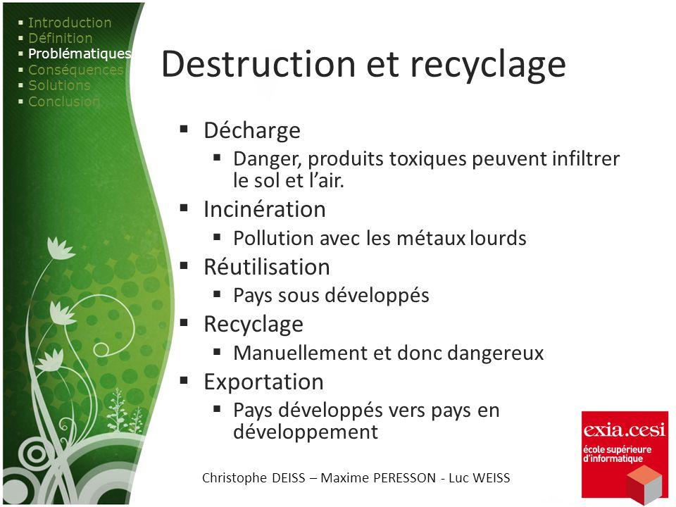 Destruction et recyclage
