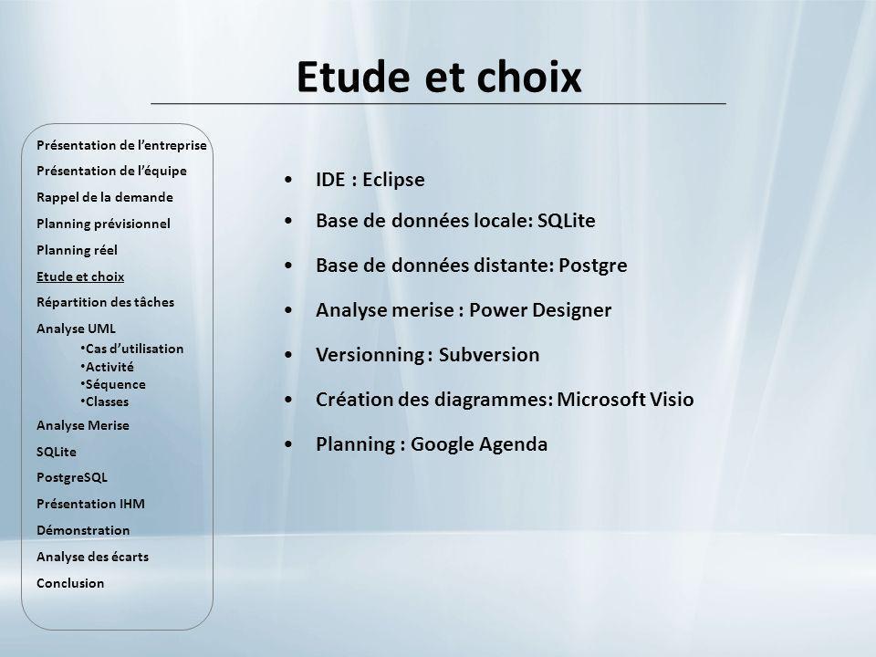 Etude et choix IDE : Eclipse Base de données locale: SQLite