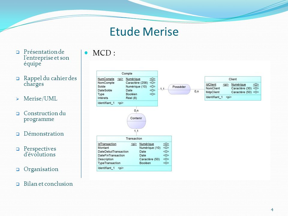 Etude Merise MCD : Présentation de l'entreprise et son équipe