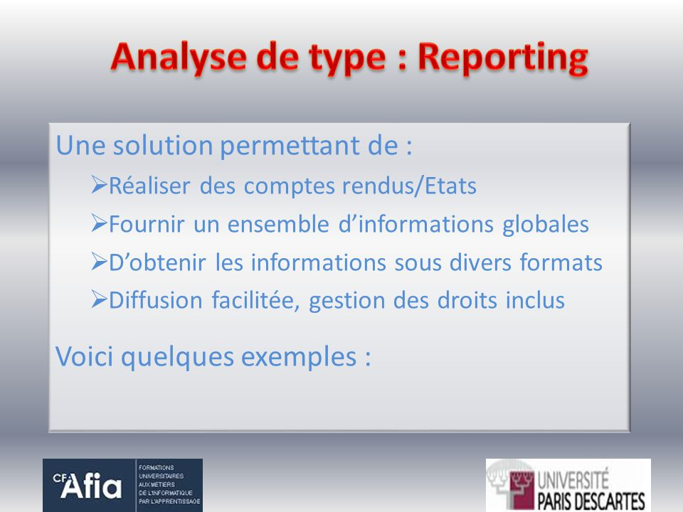 Analyse de type : Reporting