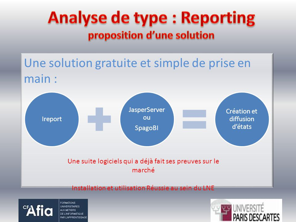 Analyse de type : Reporting proposition d'une solution