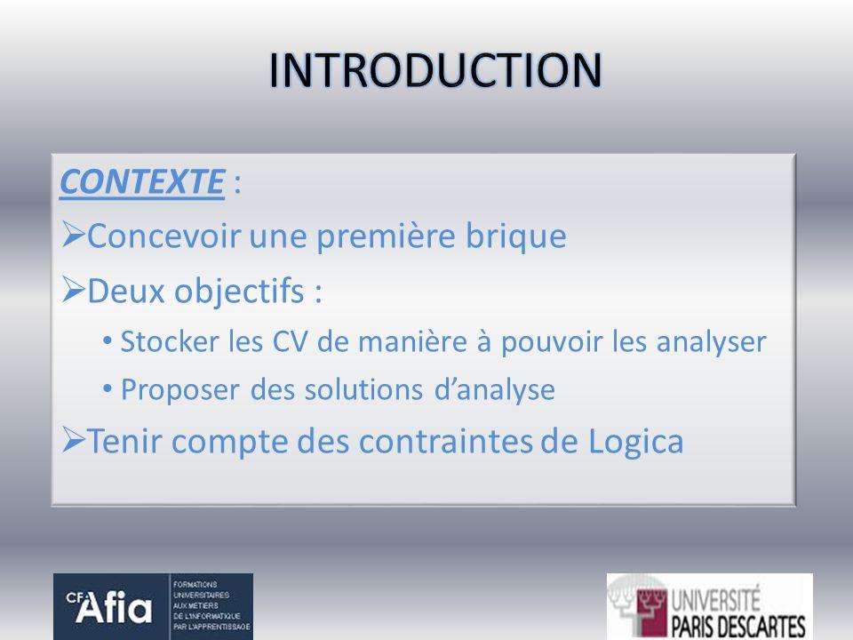 INTRODUCTION CONTEXTE : Concevoir une première brique Deux objectifs :