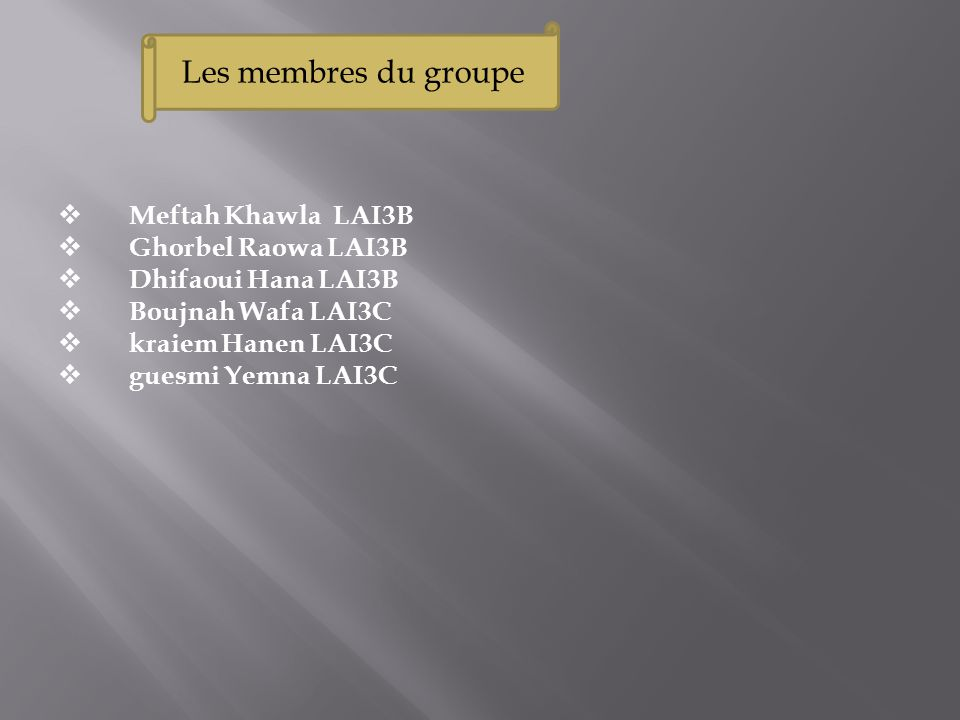 Les membres du groupe Meftah Khawla LAI3B Ghorbel Raowa LAI3B