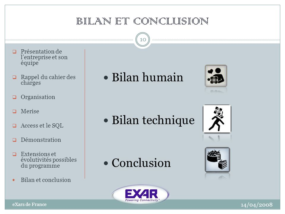 BILAN ET CONCLUSION Bilan humain Bilan technique Conclusion