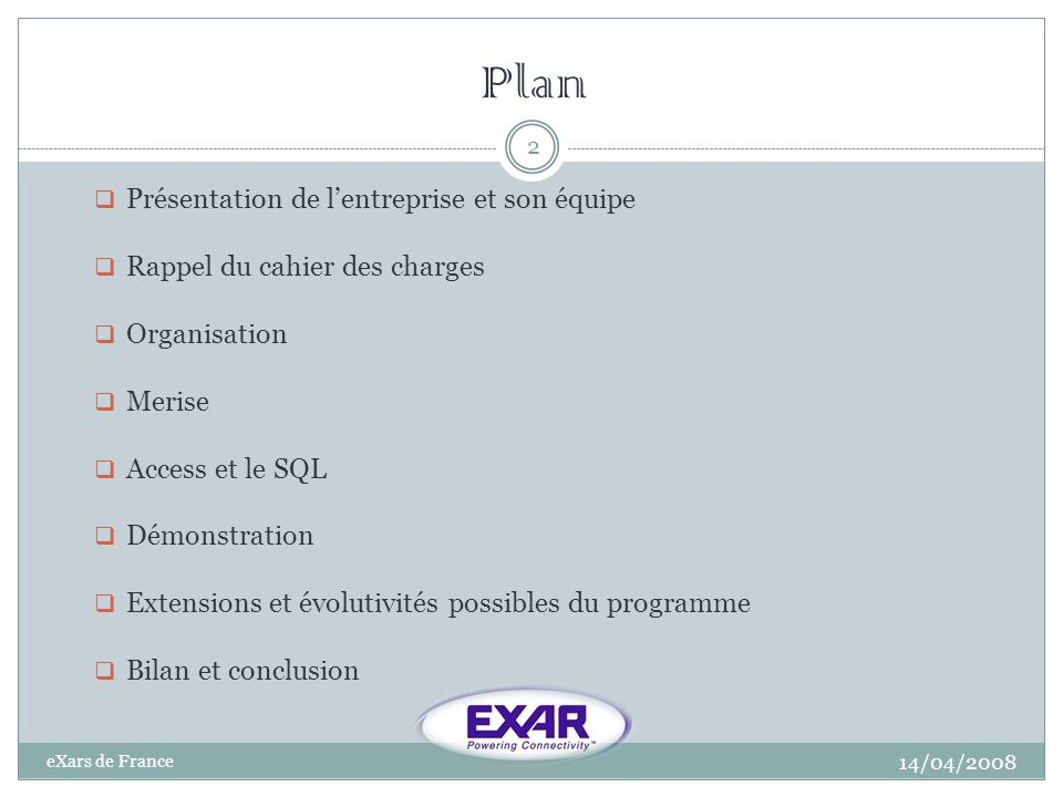 Plan Présentation de l'entreprise et son équipe