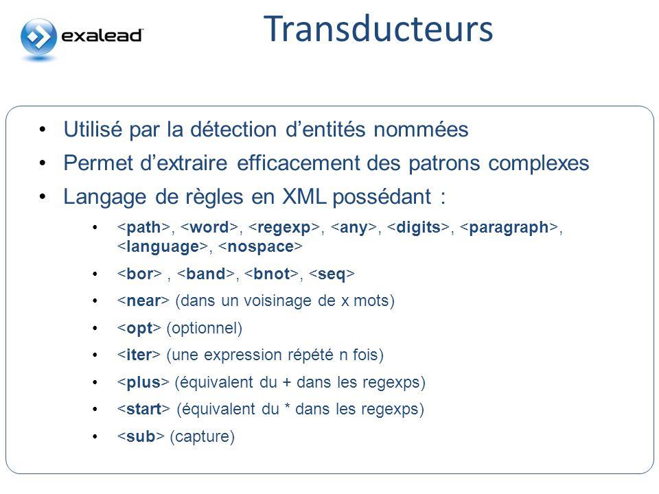 Transducteurs Utilisé par la détection d'entités nommées