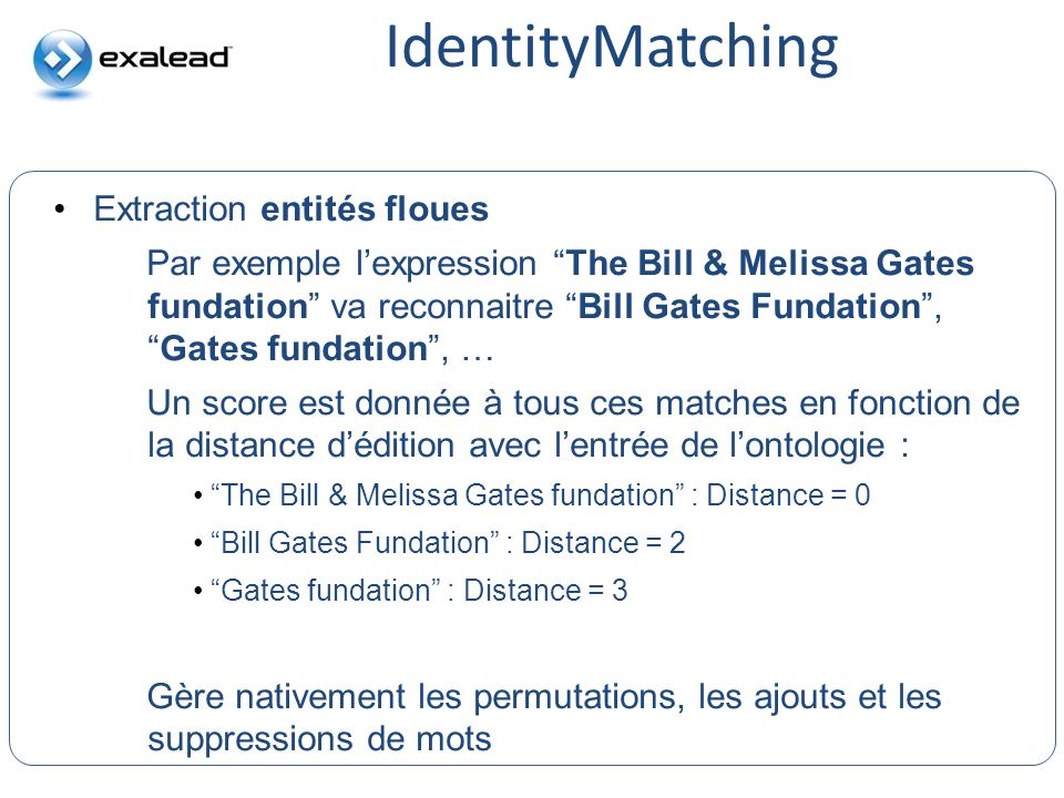 IdentityMatching Extraction entités floues CloudView Search