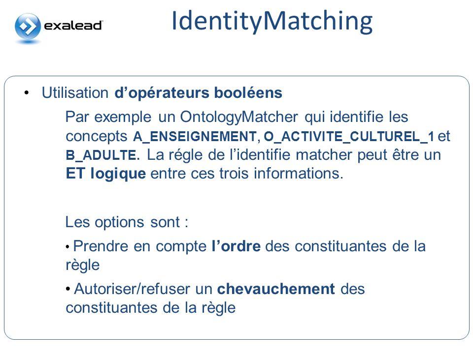IdentityMatching Utilisation d'opérateurs booléens CloudView Search
