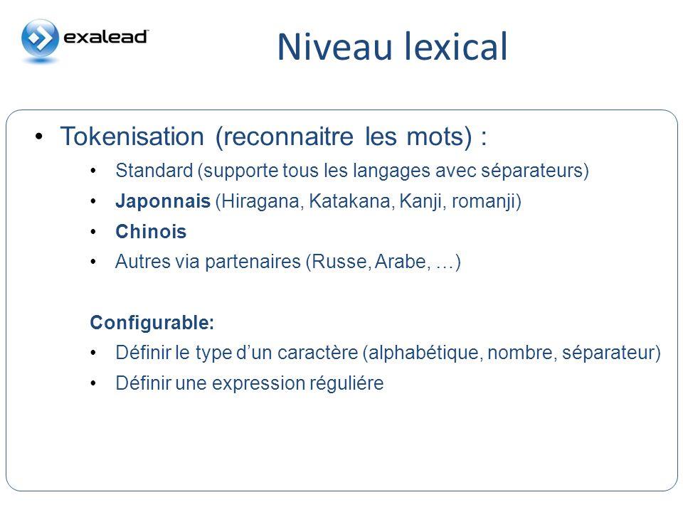 Niveau lexical Tokenisation (reconnaitre les mots) : CloudView Search