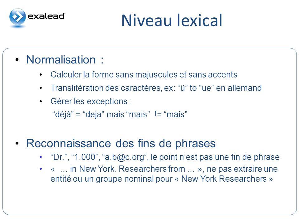 Niveau lexical Normalisation : Reconnaissance des fins de phrases