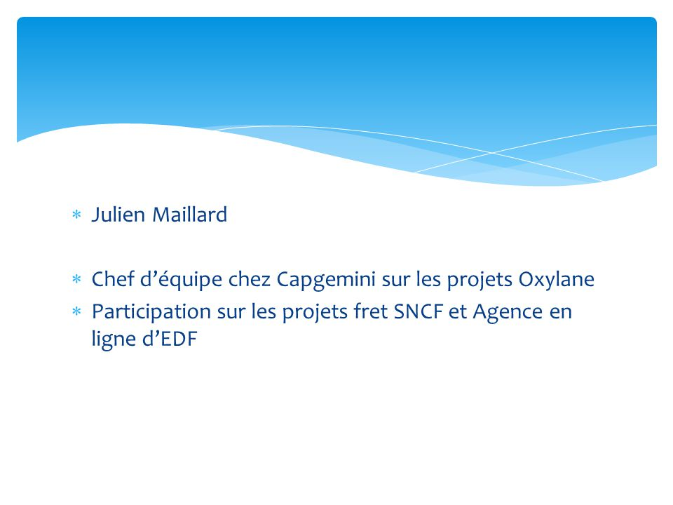 Julien Maillard Chef d'équipe chez Capgemini sur les projets Oxylane.
