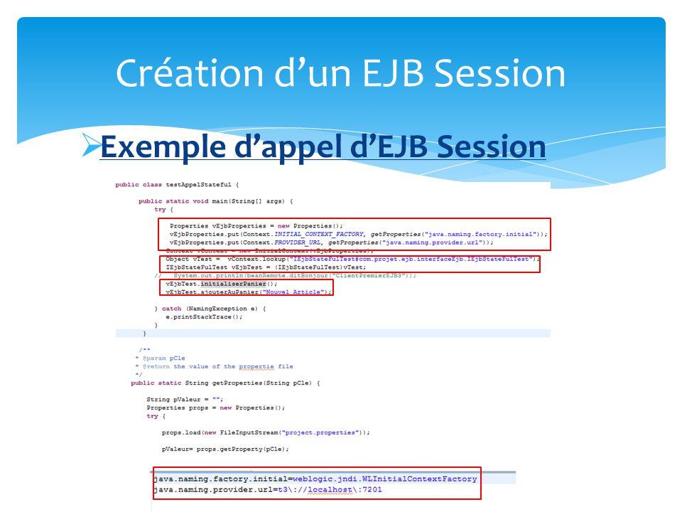 Création d'un EJB Session