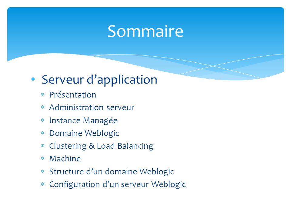 Sommaire Serveur d'application Présentation Administration serveur