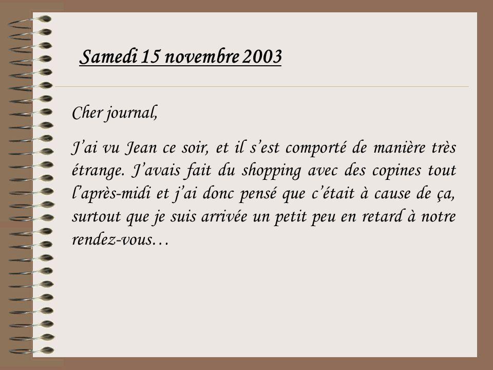Samedi 15 novembre 2003 Cher journal,
