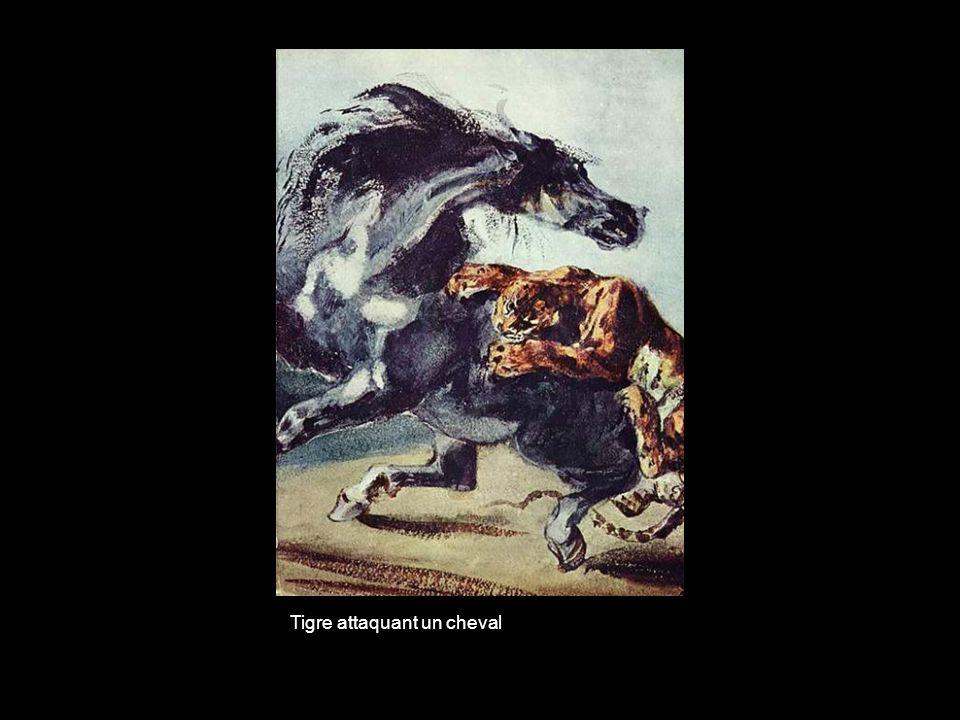 Tigre attaquant un cheval