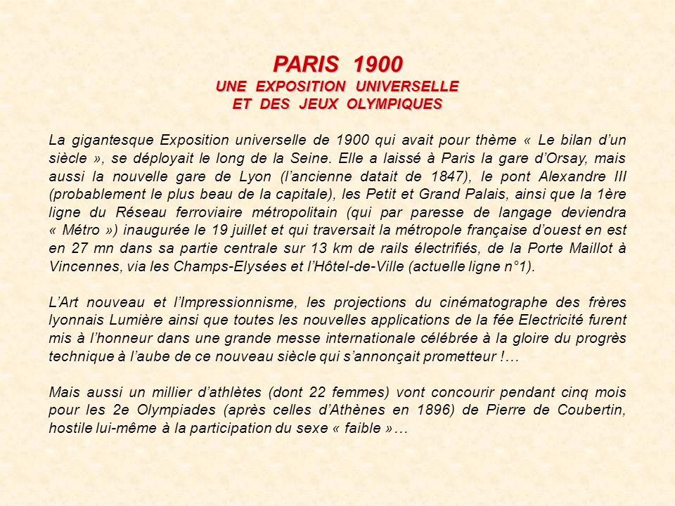 UNE EXPOSITION UNIVERSELLE