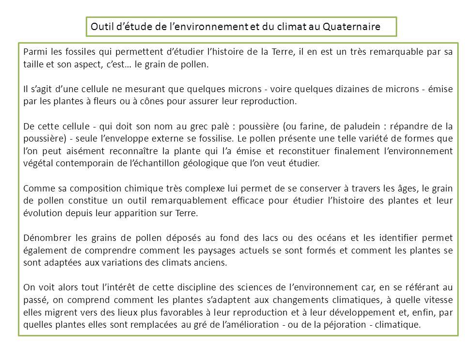 Outil d'étude de l'environnement et du climat au Quaternaire