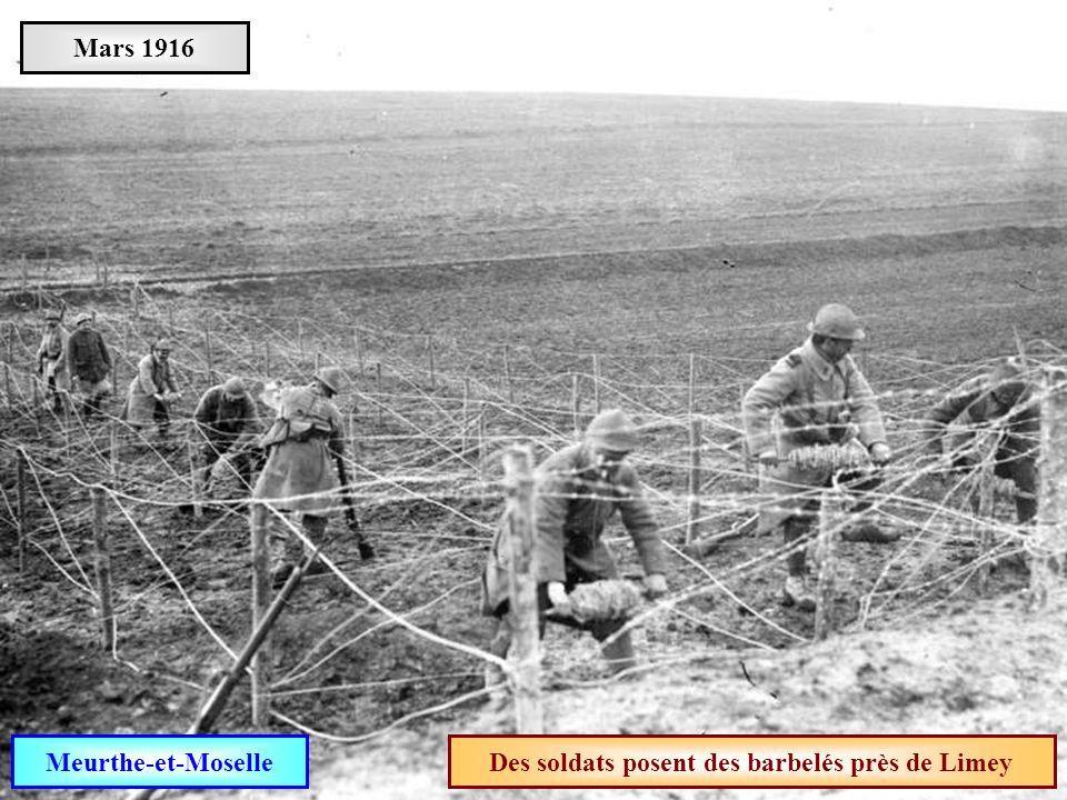 Des soldats posent des barbelés près de Limey