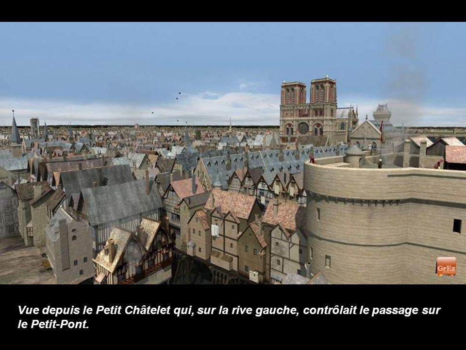 Vue depuis le Petit Châtelet qui, sur la rive gauche, contrôlait le passage sur le Petit-Pont.