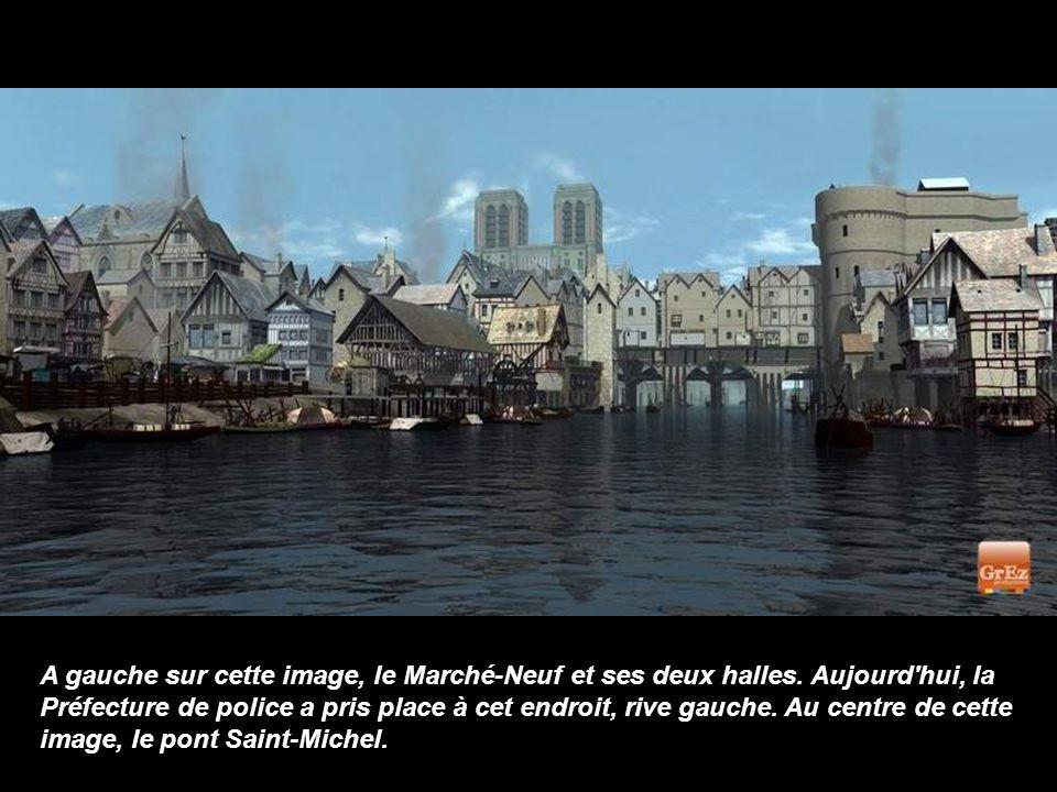 A gauche sur cette image, le Marché-Neuf et ses deux halles