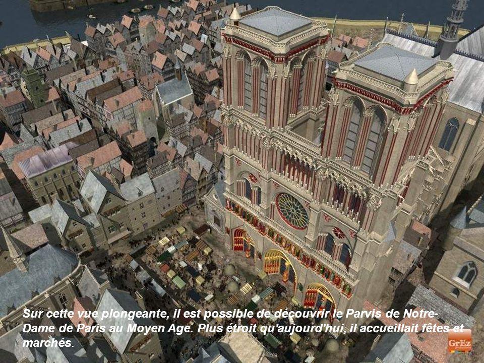 Sur cette vue plongeante, il est possible de découvrir le Parvis de Notre-Dame de Paris au Moyen Age.