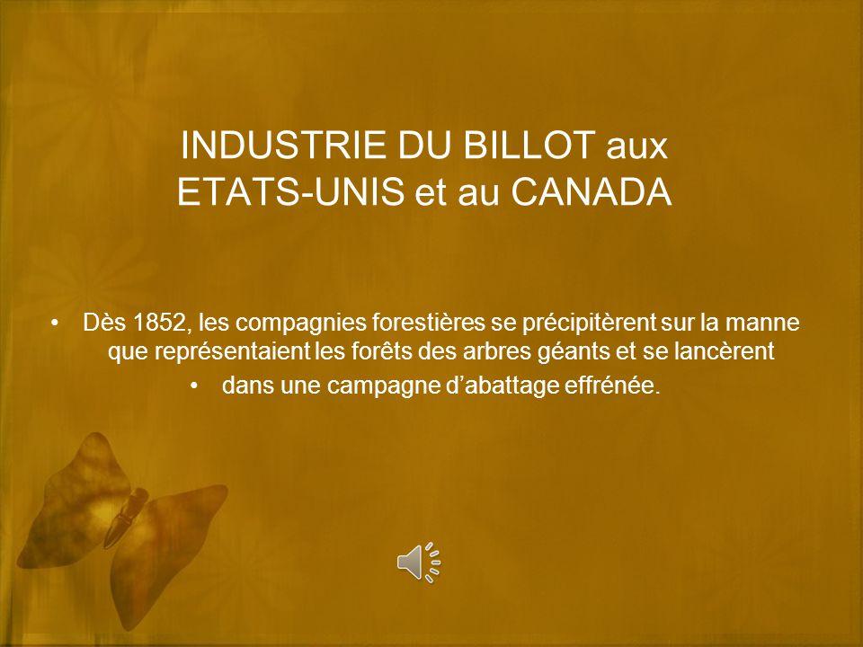 INDUSTRIE DU BILLOT aux ETATS-UNIS et au CANADA