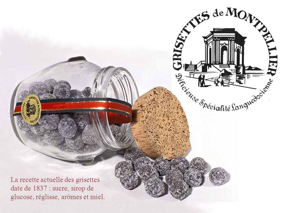 La recette actuelle des grisettes date de 1837 : sucre, sirop de glucose, réglisse, arômes et miel.