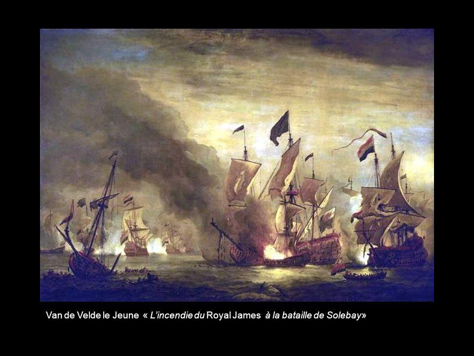 Van de Velde le Jeune « L'incendie du Royal James à la bataille de Solebay»