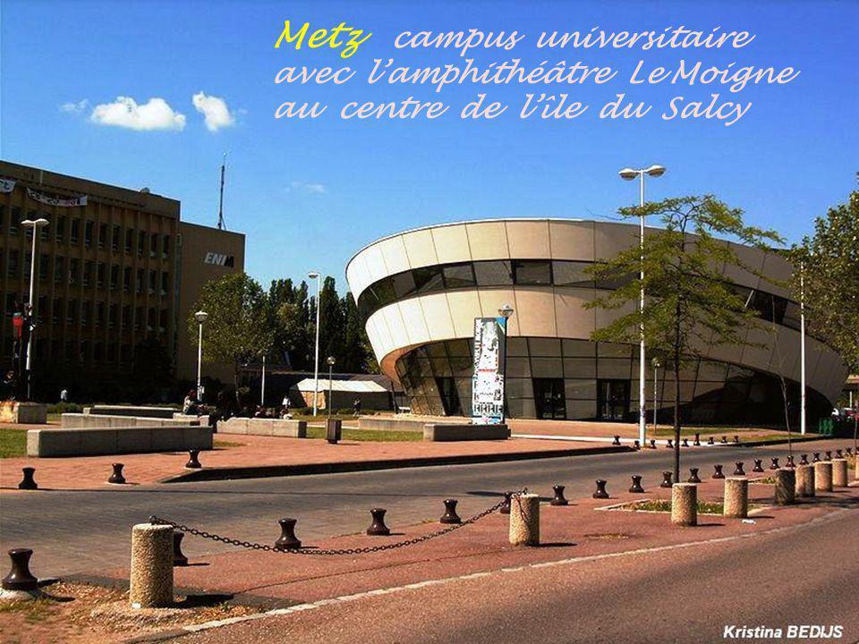 Metz campus universitaire avec l'amphithéâtre Le Moigne au centre de l'île du Salcy