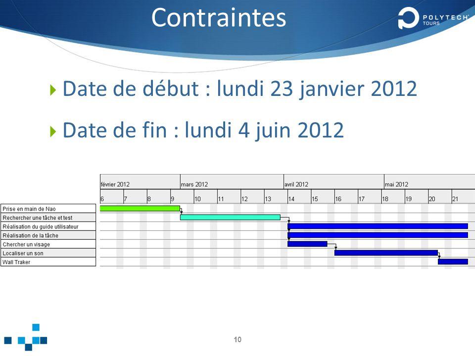 Contraintes Date de début : lundi 23 janvier 2012