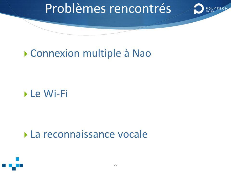 Problèmes rencontrés Connexion multiple à Nao Le Wi-Fi