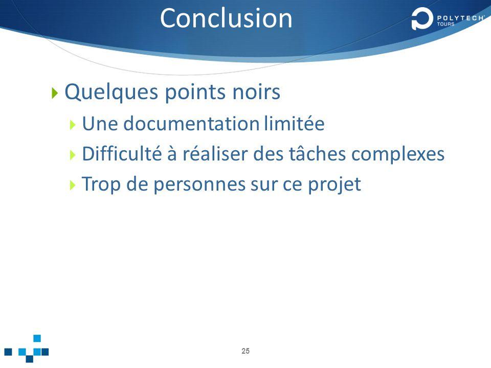 Conclusion Quelques points noirs Une documentation limitée
