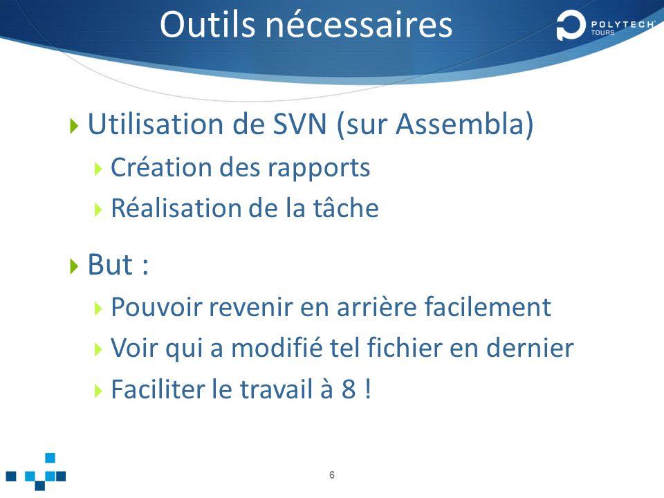 Outils nécessaires Utilisation de SVN (sur Assembla) But :