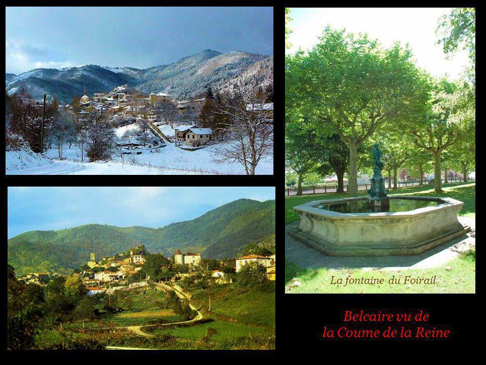 La fontaine du Foirail Belcaire vu de la Coume de la Reine