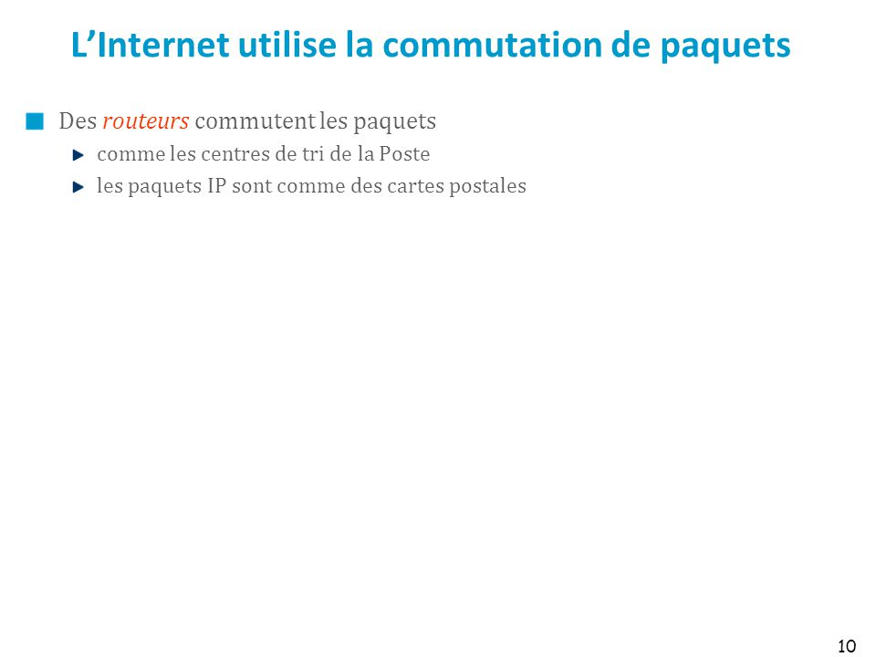 L'Internet utilise la commutation de paquets