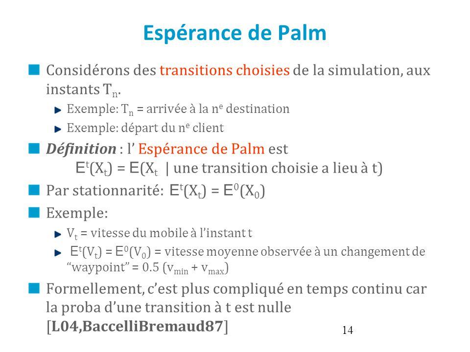 Espérance de Palm Considérons des transitions choisies de la simulation, aux instants Tn. Exemple: Tn = arrivée à la ne destination.