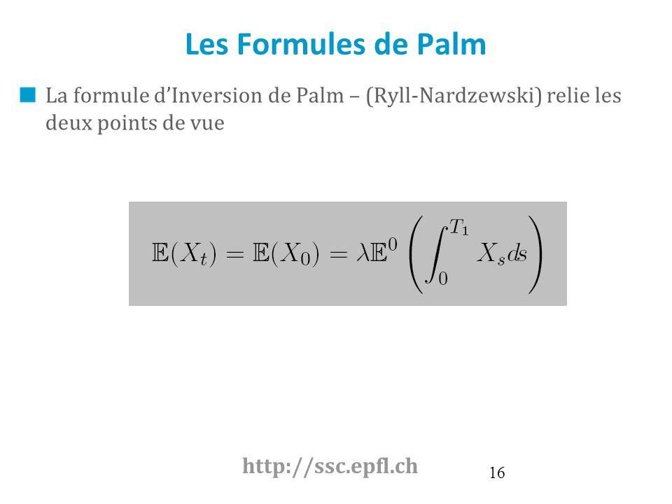 Les Formules de Palm La formule d'Inversion de Palm – (Ryll-Nardzewski) relie les deux points de vue.