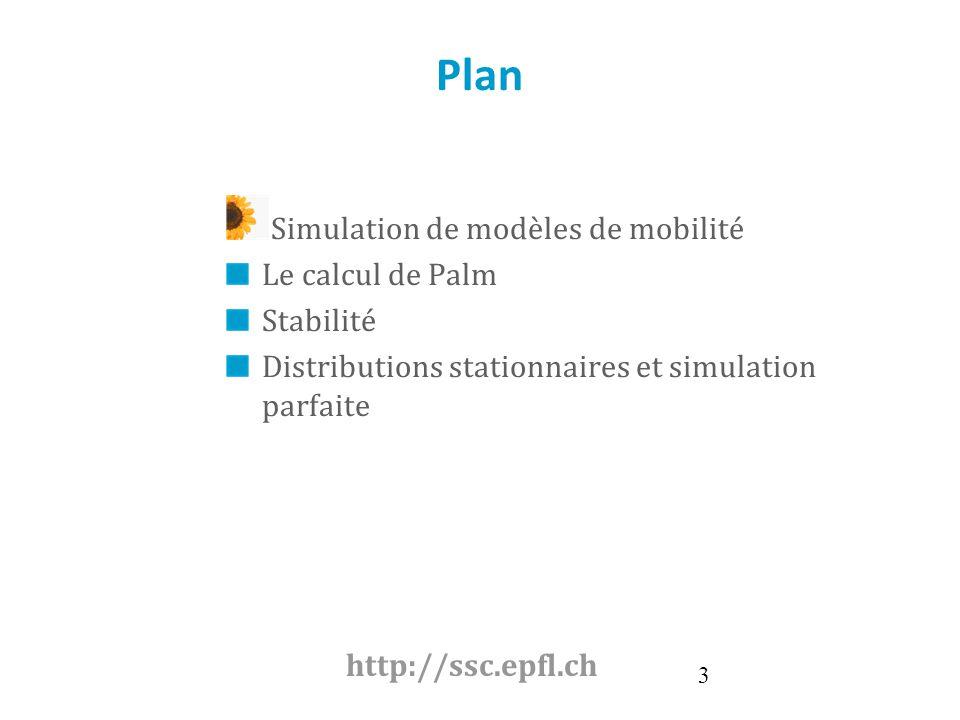 Plan Simulation de modèles de mobilité Le calcul de Palm Stabilité